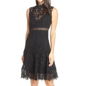 NWT Bardot Elise Black Lace Fit and Flare Dress